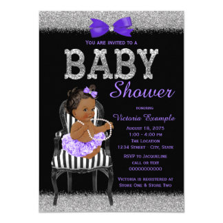 Lavend Purple Black Silver Ethnic Girl Baby Shower Card