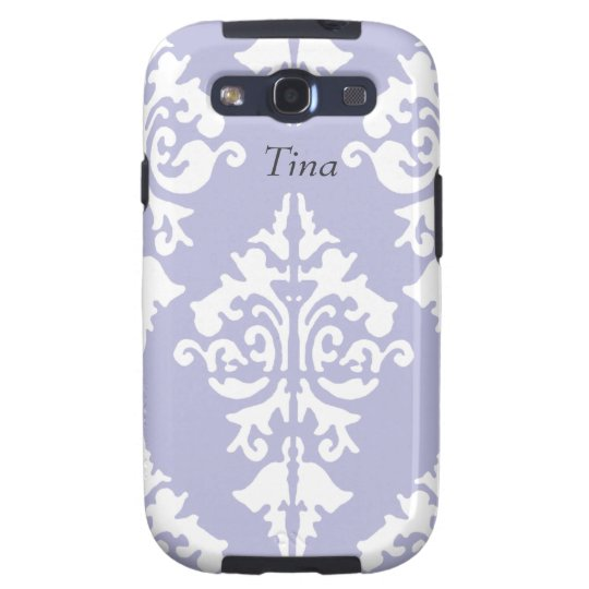 Lavendar and White Damask Cell Phone Case