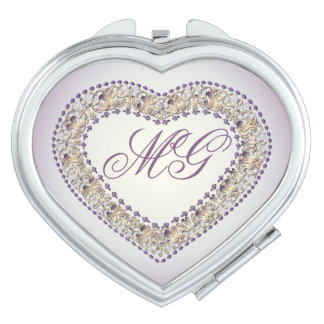 Lavendar con monograma y espejo Corazón-Compacto Espejo Para El Bolso