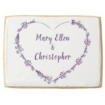 Bride Themed Lavendar Flower Heart Wedding Couple Cookie