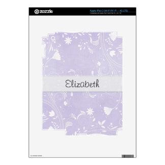 Lavendar Flower Swirls Stitched Vellum Skin For iPad 3