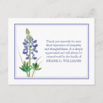 Lavendar Funeral Note Card Flat Bereavement Notes
