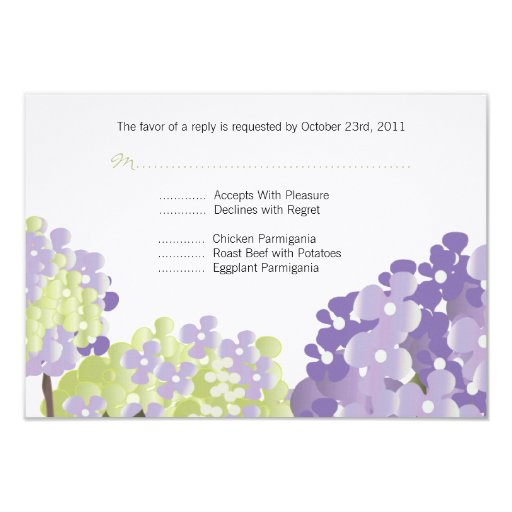 Lavendar Hydrangea Reponse Card