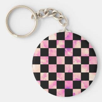 Lavendar Marble Checkerboard Basic Round Button Keychain