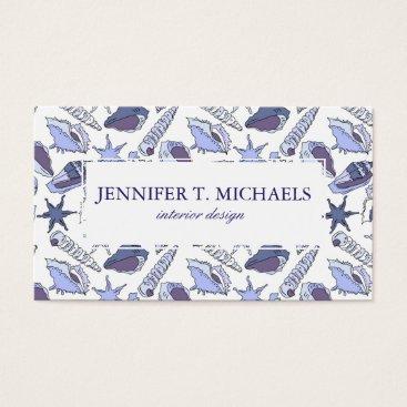 Beach Themed Lavendar Seashells Business Card