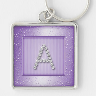 Lavendar Shimmer and Sparkle with Monogram Keychain