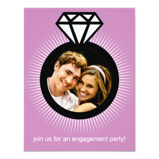Lavendar The Ring Photo Engagement Party 4.25x5.5 Paper Invitation Card