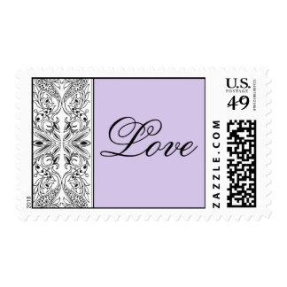 Lavendar with Black & White Panel Love Postage