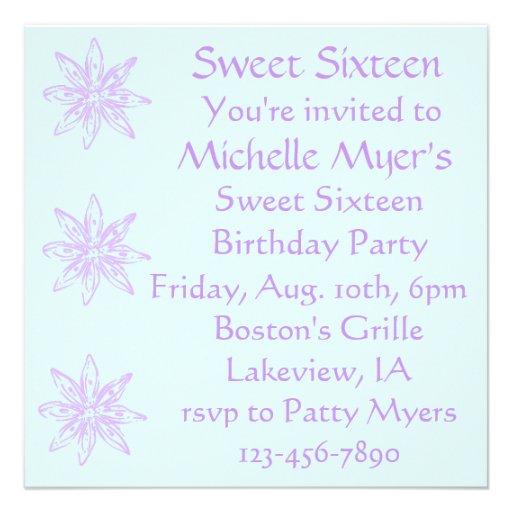 Lavendar y la primavera azul Sixteens dulce invita Comunicado