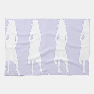 Lavendar y siluetas blancas del chica del graduado toallas de mano