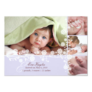 "Lavende Delicate Floral Baby Girl Announcement Too 5"" X 7"" Invitation Card"