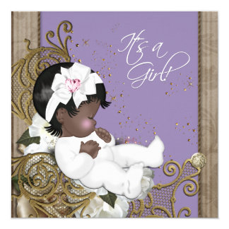 """Lavender African American Baby Girl Shower 5.25"""" Square Invitation Card"""
