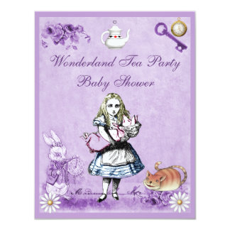 Lavender Alice in Wonderland Tea Party Baby Shower 4.25x5.5 Paper Invitation Card