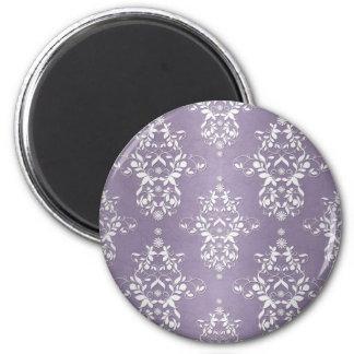 Lavender Amethyst Floral Damask 2 Inch Round Magnet