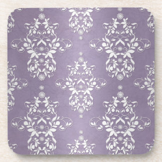 Lavender Amethyst Floral Damask Coaster