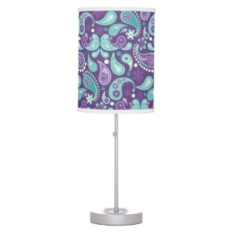 Lavender and Aqua Paisley 1 Table Lamp
