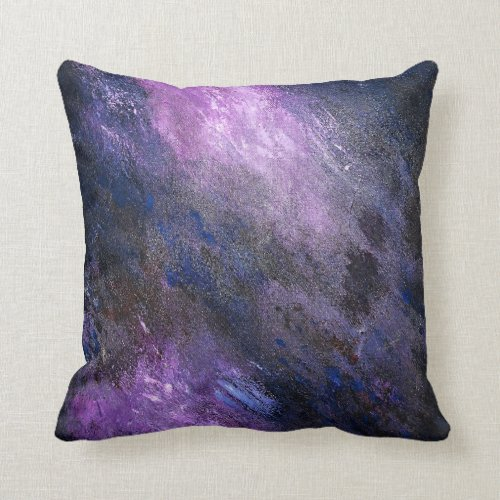 Lavender and Black Abstract Throw Pillow