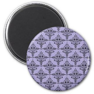 Lavender and Black Celestial Damask Pattern 2 Inch Round Magnet