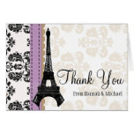 LAVENDER AND BLACK DAMASK EIFFEL TOWER THANK YOU STATIONERY NOTE CARD