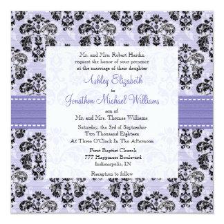 "Lavender and Black Damask Wedding Invitations 5.25"" Square Invitation Card"