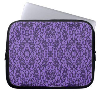Lavender and Black Lace Laptop Sleeve