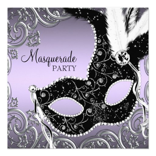 Lavender and Black Mask Masquerade Party Personalized Invitations