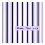 Lavender and Black Stripes-Shower Custom Invitation