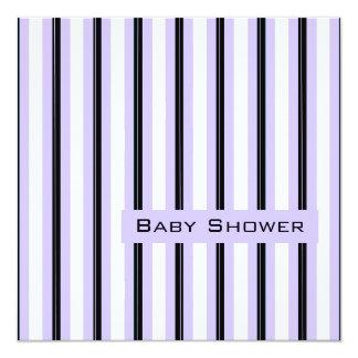 Lavender and Black Stripes-Shower 5.25x5.25 Square Paper Invitation Card