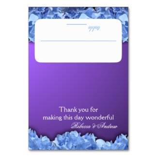 Lavender and Blue Hydrangeas Seating Card Table Card