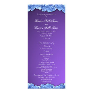 Lavender and Blue Hydrangeas Wedding Program