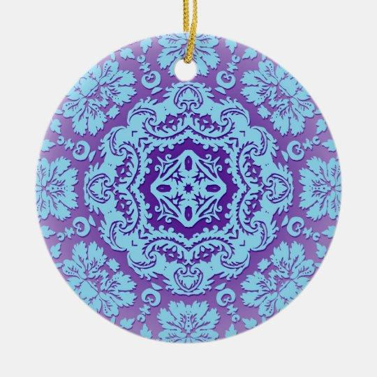 Lavender and Blue Ornate Pattern Ceramic Ornament