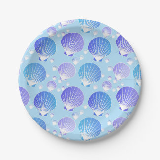 Lavender and blue seashells on pale blue paper plate