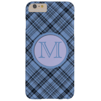 Lavender and Cornflower Blue Plaid Monogrammed Barely There iPhone 6 Plus Case