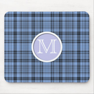 Lavender and Cornflower Blue Tartan Monogrammed Mouse Pad