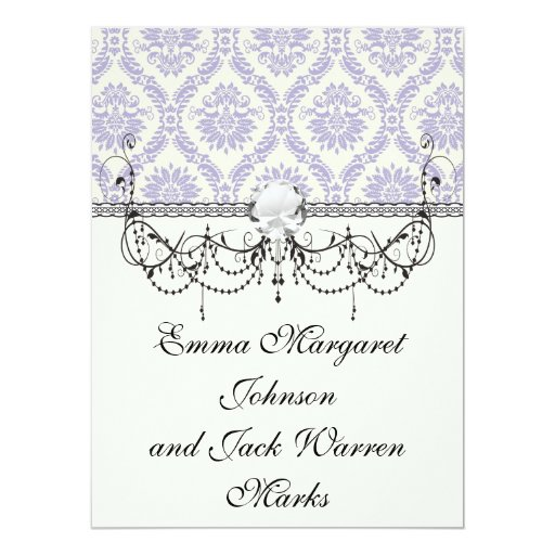 lavender and cream lovely damask 6.5x8.75 paper invitation card
