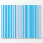 [ Thumbnail: Lavender and Deep Sky Blue Lined Pattern Wrapping Paper ]