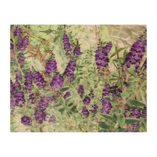 lavender and ferns wood print