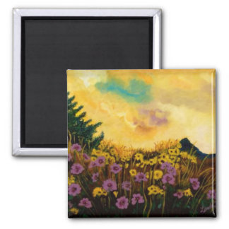 """Lavender and Gold"" by Linda Powell~Original 2 Inch Square Magnet"