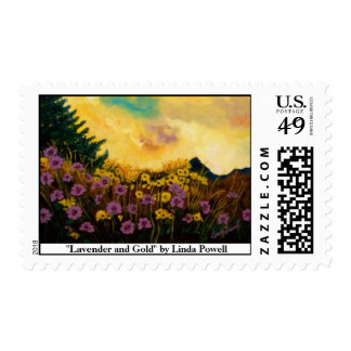 """Lavender and Gold"" by Linda Powell~Original Stamp"