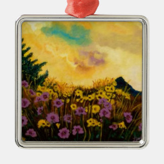 """""""Lavender and Gold"""" by Linda Powell~Original Square Metal Christmas Ornament"""
