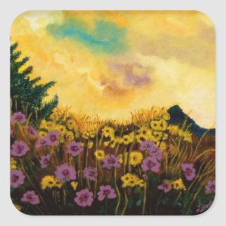 """""""Lavender and Gold"""" by Linda Powell~Sticker Square Sticker"""