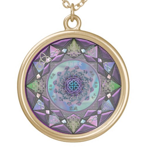 Lavender and Gold Celtic Mandala Necklace
