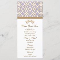 Lavender and Gold Moroccan Menu