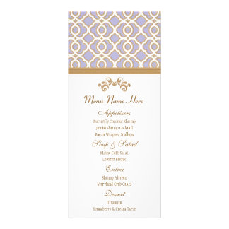 Lavender and Gold Moroccan Menu Full Color Rack Card