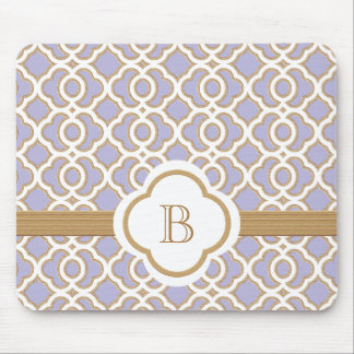 Lavender and Gold Moroccan Monogrammed Mouse Pad