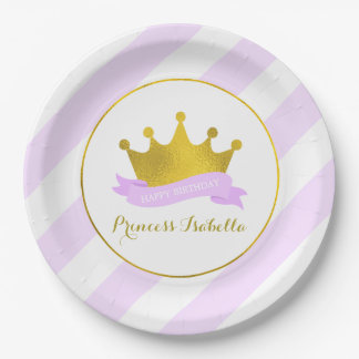 Lavender and Gold Princess Birthday Party Paper Plate