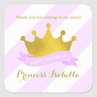 Lavender and Gold Princess Birthday Square Sticker