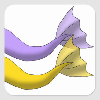 Lavender and Golden Yellow Mermaid Tails Square Sticker