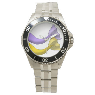 Lavender and Golden Yellow Mermaid Tails Wristwatch