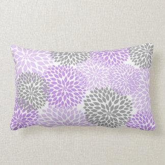 Lavender and Gray Dahlia / Mums rectangular pillow